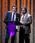 Jason Butler Harner and Matthew Saldivar on stage at the Dramatists Guild Foundation 2018 dgf: gala at the Manhattan Center Ballroom on November 12, 2018 in New York City.