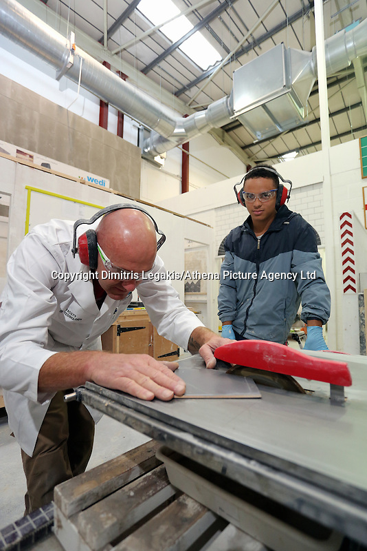 Pictured: Tiling class, Craig. Monday 22 September 2014<br />