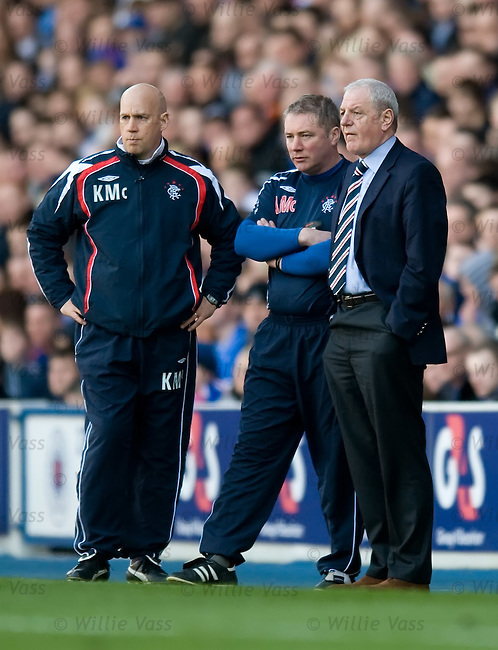 Walter Smith watches on from the sidelines as Rangers lose their two goal advantage