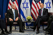 "(L to R) Prime Minister of Israel Benjamin Netanyahu speaks to United States President Barack Obama during a bilateral meeting at the Lotte New York Palace Hotel, September 21, 2016 in New York City. Last week, Israel and the United States agreed to a $38 billion, 10-year aid package for Israel. Obama is expected to discuss the need for a ""two-state solution"" for the Israeli-Palestinian conflict. <br /> Credit: Drew Angerer / Pool via CNP"