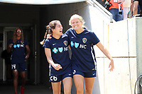 Cary, North Carolina  - Saturday June 03, 2017: Samantha Witteman and Makenzy Doniak prior to a regular season National Women's Soccer League (NWSL) match between the North Carolina Courage and the FC Kansas City at Sahlen's Stadium at WakeMed Soccer Park. The Courage won the game 2-0.