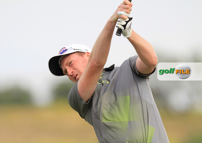Steven Tiley (ENG) on the 1st tee during Round 3 of the Challenge de Madrid, a Challenge  Tour event in El Encin Golf Club, Madrid on Friday 24th April 2015.<br /> Picture:  Thos Caffrey / www.golffile.ie
