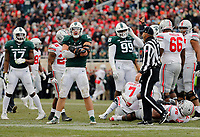 Michigan State Spartans defensive end Kenny Willekes (48) reacts to a sack of Ohio State Buckeyes quarterback Dwayne Haskins Jr. (7) during the second quarter of the NCAA football game at Spartan Stadium in East Lansing, Mich. on Nov. 10, 2018. [Adam Cairns/Dispatch]