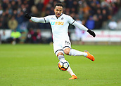 17th March 2018, Liberty Stadium, Swansea, Wales; FA Cup football, quarter-final, Swansea City versus Tottenham Hotspur; Martin Olsson of Swansea City strikes the ball on the half volley forcing the save from Michel Vorm of Tottenham Hotspur to keep the score 0-2