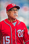 29 July 2017: Washington Nationals first base coach Davey Lopes looks out from the dugout prior to a game against the Colorado Rockies at Nationals Park in Washington, DC. The Rockies defeated the Nationals 4-2 in the first game of their 3-game weekend series. Mandatory Credit: Ed Wolfstein Photo *** RAW (NEF) Image File Available ***