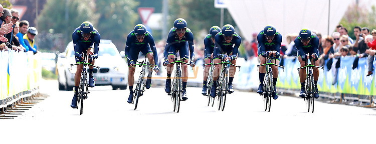Movistar Team competes at the finish of the team time trial of the first stage of the cycling road race 'Giro del Trentino' in Arco.
