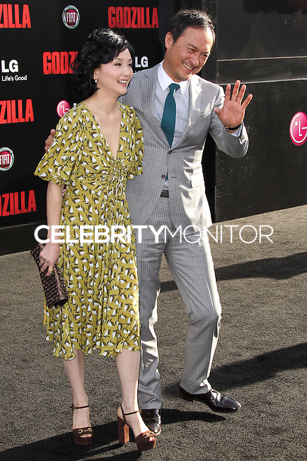 """HOLLYWOOD, LOS ANGELES, CA, USA - MAY 08: Kaho Minami, Ken Watanabe at the Los Angeles Premiere Of Warner Bros. Pictures And Legendary Pictures' """"Godzilla"""" held at Dolby Theatre on May 8, 2014 in Hollywood, Los Angeles, California, United States. (Photo by Xavier Collin/Celebrity Monitor)"""