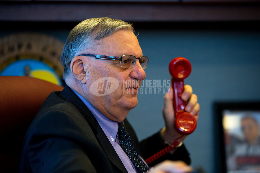 Jan 21, 2015; Phoenix, AZ, USA; Maricopa County sheriff Joe Arpaio on the telephone in his office in downtown Phoenix. Mandatory Credit: Mark J. Rebilas-