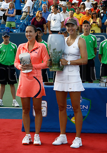 21.08.2011..Maria Sharapova [right] poses with runner up finalist Jelena Jankovic at the 2011 Western & Southern Open Women's Championship at the Western & Southern Open at the Lindner Family Tennis Center in Mason, Ohio...Sharapova defeated Jelena Jankovic [SRB] 4-6, 7-6, 6-3..