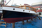 Classic wooden boats, Port Townsend, Boat Haven Marina, motor yacht, Comrade, boat repair, Peninsula, Puget Sound, Washington State, Pacific Northwest, USA,