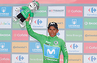 ESPAÑA, 30-08-2019: Nairo Quintana (ESP - MOVISTAR) celebra con maillot verde líder de los puntos después de la etapa 7, hoy, 30 de agosto de 2019, que se corrió entre Onda y Mas de la Costa con una distancia de 183,2 km como parte de La Vuelta a España 2019 que se disputa entre el 24/08 y el 15/09/2019 en territorio Español. / Nairo Quintana (ESP - MOVISTAR) celebrates with the green points leader jersey after the stage 7 today, August 30, 2019, from Onda to Mas de la Costa with a distance of 183,2 km as part of Tour of Spain 2019 which takes place between 08/24 and 09/15/2019 in Spain.  Photo: VizzorImage / Luis Angel Gomez / ASO<br /> VizzorImage PROVIDES THE ACCESS TO THIS PHOTOGRAPH ONLY AS A PRESS AND EDITORIAL SERVICE AND NOT IS THE OWNER OF COPYRIGHT; ANOTHER USE HAVE ADDITIONAL PERMITS AND IS  REPONSABILITY OF THE END USER