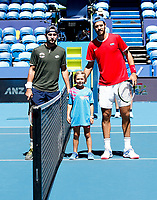7th January 2020; RAC Arena, Perth, Western Australia; ATP Cup Australia, Perth, Day 5; Russia versus Norway; Karen Khachanov of Russia and Viktor Durasovic of Norway pose for a photograph with Alex - Editorial Use