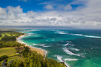 Aerial view of Baldwin Beach and Pa'ia area coastline, Maui.