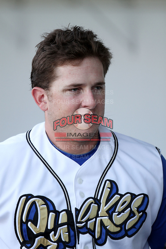 Blake Smith #19 of the Rancho Cucamonga Quakes before game against the Lancaster JetHawks at The Epicenter in Rancho Cucamonga,California on April 28, 2011. Photo by Larry Goren/Four Seam Images