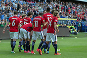 June 1th 2017, Ullevaal Stadion, Oslo, Norway; International Football Friendly 2018 football, Norway versus Sweden; Mohamed Elyounoussi of Norway celebrates with team mate after scoring a goal