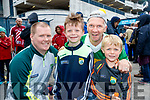 Thomas Canty, Pascal Buckley, Pascal Buckley and Ryan Buckley, all from Tralee, cheering on the green and gold at the All Ireland SFC quarter final Kerry v Galway in Croke Park, Dublin on Sunday.