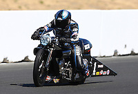 Jul. 27, 2013; Sonoma, CA, USA: NHRA pro stock motorcycle rider Eddie Krawiec during qualifying for the Sonoma Nationals at Sonoma Raceway. Mandatory Credit: Mark J. Rebilas-