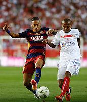 FC Barcelona´s  Brazilian forward Neymar Jr and Sevilla´s defense Ferreira during the Final of Copa del Rey match between FC Barcelona and SevillaFC at the Vicente Calderon Stadium in Madrid, Sunday, May 22, 2016.