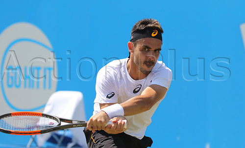 June 18th 2017, Nottingham, England; ATP Aegon Nottingham Open Tennis Tournament day 7 finals day;  Thomas Fabbiano of Italy in action in the men's singles final against Dudi Sela of Israel