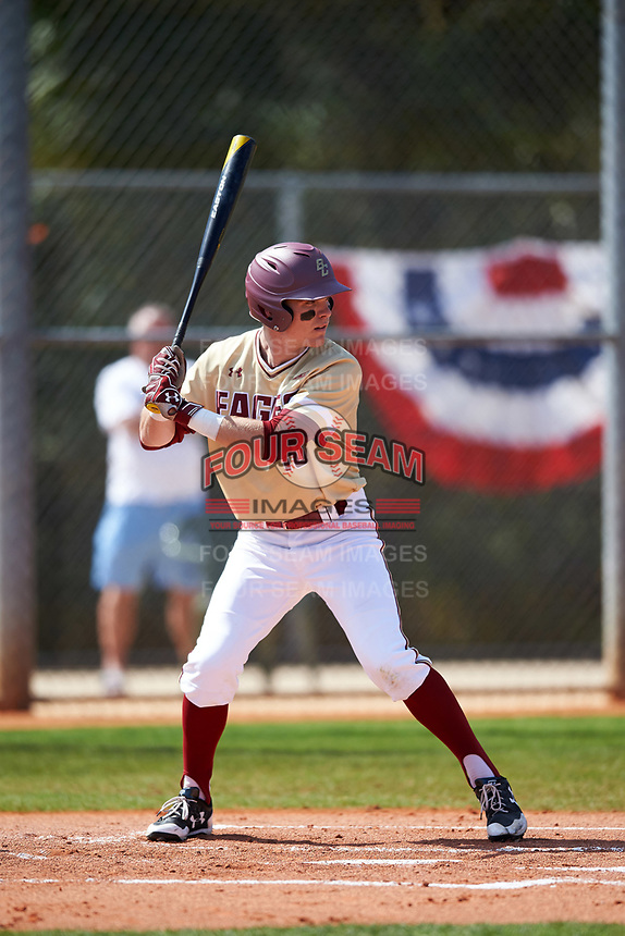 Boston College Eagles left fielder Michael Strem (10) at bat during a game against the Central Michigan Chippewas on March 3, 2017 at North Charlotte Regional Park in Port Charlotte, Florida.  Boston College defeated Central Michigan 5-4.  (Mike Janes/Four Seam Images)