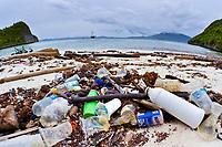 pollution, marine debris, plastic wastes wash ashore on a remote island in Raja Ampat, West Papua, Indonesia, Indo-Pacific Ocean