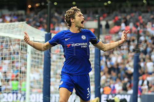 20th August 2017, Wembley Stadium, London, England; EPL Premier League football, Tottenham Hotspur versus Chelsea; Marcos Alonso of Chelsea celebrates after scoring as he makes it 1-2