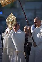 Cardinal Angelo De Donatis.Pope Francis the Feast of Corpus Christi in the parish of Saint Mary Consoler in Rome's Casal Bertone neighborhood on June 23, 2019.