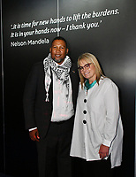 Nkosi Zwelivelile Mandela, Zelda la Grange at Press view for exhibition celebrating the life and legacy of Nelson Mandela, the anti-apartheid revolutionary and former President of South Africa, showcasing personal belongings and objects.  Nelson Mandela The Official Exhibition press view, London, UK - 7 February 2019.<br /> CAP/JOR<br /> &copy;JOR/Capital Pictures