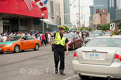 Policeman; directing traffic