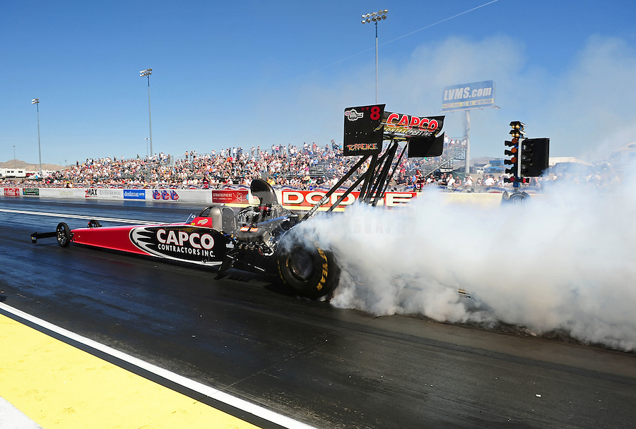 Apr. 1, 2011; Las Vegas, NV, USA: NHRA top fuel dragster driver Steve Torrence during qualifying for the Summitracing.com Nationals at The Strip in Las Vegas. Mandatory Credit: Mark J. Rebilas-