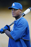 Adrian Beltre of the Los Angeles Dodgers before a 2002 MLB season game at Dodger Stadium, in Los Angeles, California. (Larry Goren/Four Seam Images)