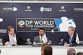 George O'Grady Chief Executive of The European Tour, H.E. Sultan Ahmed Bin Sulayem Chairman of DP World and Keith Waters Chief operating officer European Tour at the DP world Tour Championship extension announcement during round 1 of the 2015 BMW PGA Championship over the West Course at Wentworth, Virgina Water, London. 21/05/2015<br /> Picture Fran Caffrey, www.golffile.ie: