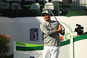 January 31st 2019, Scotsdale, Arizona, USA; Rickie Fowler watches his drive on the 16th hole during the first round of the Waste Management Phoenix Open