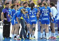 Handball Champions League Frauen 2013/14 - Handballclub Leipzig (HCL) gegen Metz (FRA) am 10.11.2013 in Leipzig (Sachsen). <br /> IM BILD: HCL Trainer Thomas Swed Örneborg / Oerneborg ist in einer Auszeit außer sich. <br /> Foto: Christian Nitsche / aif