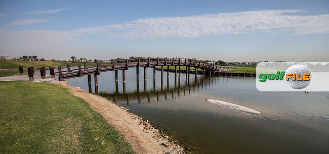 Bridge to the 13th island green at The Address Montgomerie Golf Club, Dubai, United Arab Emirates.  27/01/2016. Picture: Golffile | David Lloyd<br /> <br /> All photos usage must carry mandatory copyright credit (&copy; Golffile | David Lloyd)