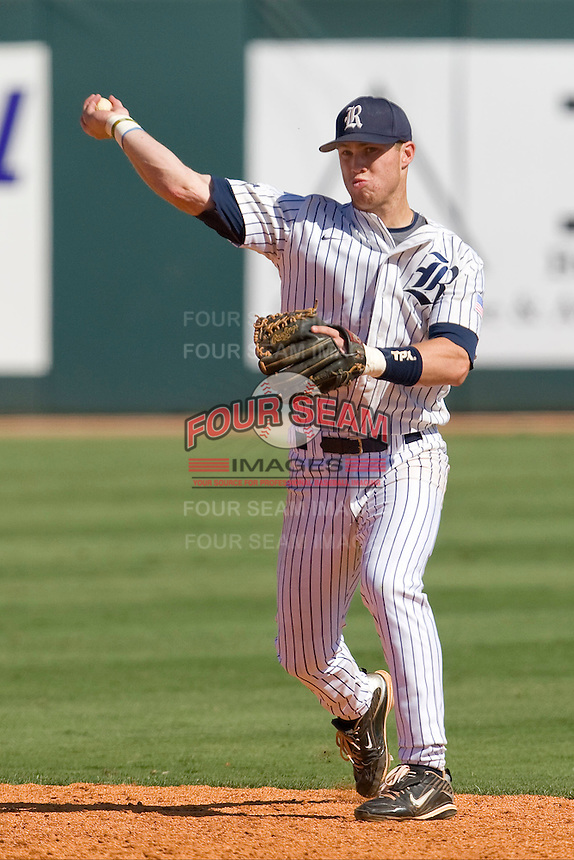 Rice Owls second baseman Michael Ratterree #8 throws to first against the Memphis TIgers in NCAA Conference USA baseball on May 14, 2011 at Reckling Park in Houston, Texas. (Photo by Andrew Woolley / Four Seam Images)