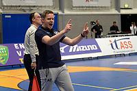 GRONINGEN - Volleybal, Abiant Lycurgus - Orion, Martiniplaza, Supercup , seizoen 2017-2018, 01-10-2017,  blijdschap na laatste punt bij Lycurgus coach Arjan Taaij