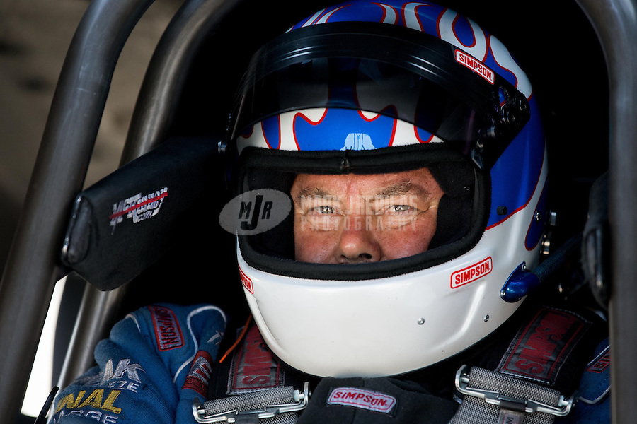 Aug. 30, 2013; Clermont, IN, USA: NHRA top alcohol funny car driver Jay Payne during qualifying for the US Nationals at Lucas Oil Raceway. Mandatory Credit: Mark J. Rebilas-