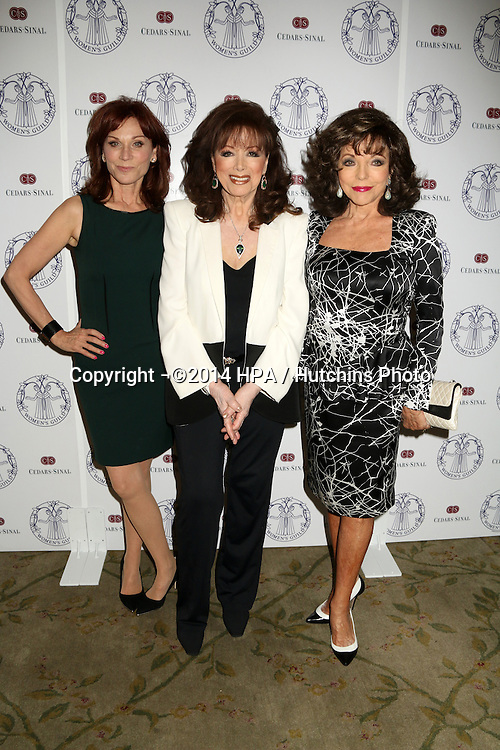 LOS ANGELES - APR 22:  Marilu Henner, Jackie Collins, Joan Collins at the Women's Guild Cedars-Sinai Luncheon at Beverly Hills Hotel on April 22, 2014 in Beverly Hills, CA
