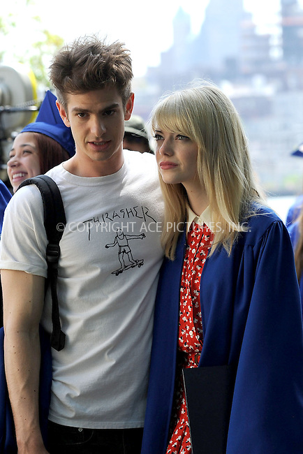 WWW.ACEPIXS.COM . . . . . <br /> June 2, 2013...New York City....Andrew Garfield and Emma Stone on the film set of 'The Amazing Spider Man 2' on the Lower East Side of Manhattan on June 2, 2013 in New York City ....Please byline: Kristin Callahan - ACEPIXS.COM.. . . . . . ..Ace Pictures, Inc: ..tel: (212) 243 8787 or (646) 769 0430..e-mail: info@acepixs.com..web: http://www.acepixs.com