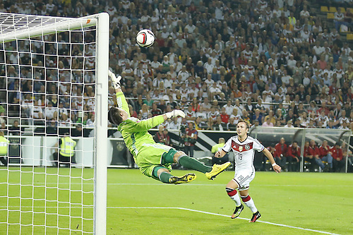07.09.2014. Dortmund, Germany.   international match Germany Scotland  in Signal Iduna Park in Dortmund. Thomas Mueller  Germany scores with a Header over Hutton and goalie  Marshall for 1-0
