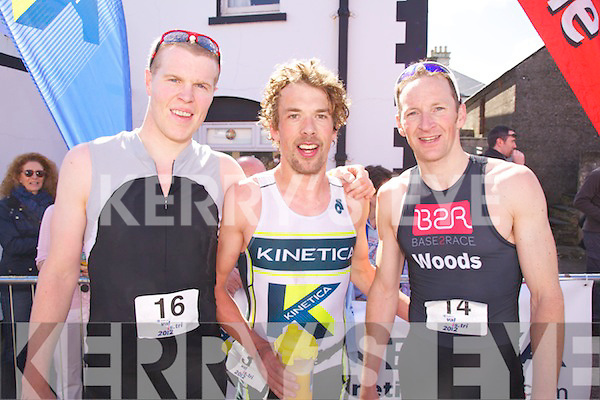 Top three at the Zurich Valentia Island Triathlon l-r; Stephen Early(2nd 58:46), Mark Nolan(1st 57:56) & Trevor Woods(3rd 58:48)