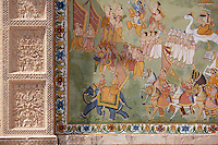 Mehrangarh Fort Hindu mural at Jaypol Gate in Jodhpur in Rajasthan, Northern India