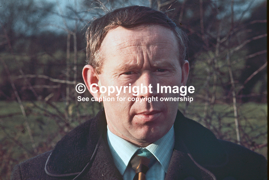 PJ McClean, aka Patrick Joseph McClean, from Beragh, Omagh, Co Tyrone, N Ireland, UK, who was one of 342 men interned in 1971 during the N Ireland Troubles. He was a prominent member of the N Ireland Civil Rights Association. 197301050014a.<br />