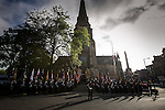 © Joel Goodman - 07973 332324 . 02/09/2013 . Bury , UK . Fire service personnel rehearse ahead of the service . The funeral of fireman Stephen Hunt at Bury Parish Church today (Tuesday 3rd September 2013) . Stephen Hunt died whilst tackling a blaze at Paul's Hair World in Manchester City Centre in July 2013 . Photo credit : Joel Goodman