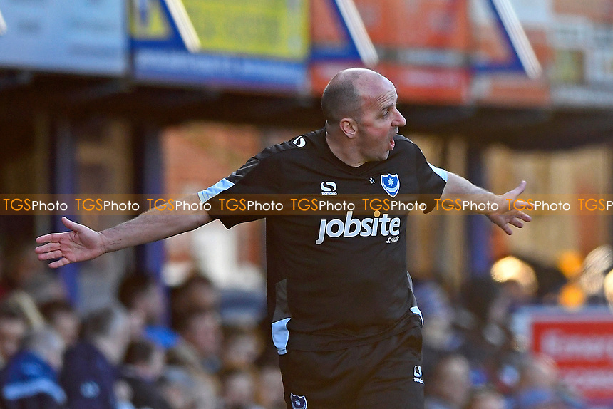 Portsmouth Manager Paul Cook gets animated on the side line during Portsmouth vs Newport County, Sky Bet EFL League 2 Football at Fratton Park on 25th March 2017