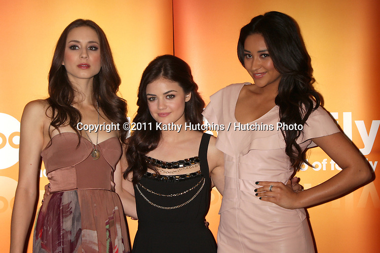 LOS ANGELES - MAY 14:  Troian Bellisario, Lucy Hale, Shay Mitchell at the Disney ABC Television Group May Press Junket 2011 at ABC Building on May 14, 2011 in Burbank, CA