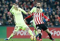 Atletic de Bilbao's Aritz Aduriz (r) and FC Barcelona's Jeremy Mathieu during La Liga match.February 8,2015. (ALTERPHOTOS/Acero) /NORTEphoto.com