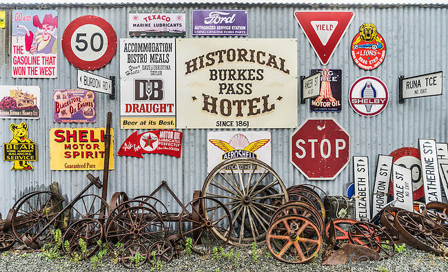 Old signs, antiques and memorabilia at Three Creeks Shop, Burkes Pass, New Zealand