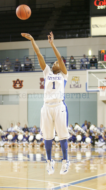 UK guard A'dia Mathies shoots the ball during the first half of UK's Women's basketball game against Jacksonville State in Lexington, Ky. on 11/15/11. Photo by Quianna Lige | Staff